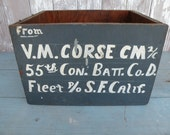 Vintage military 55th Con. Batt. Co. D.. ,  San Francisco Calif.  , shipping box ,  wood crate