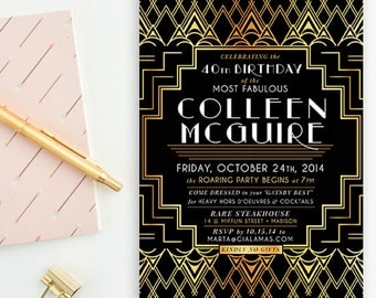 Gold, Black & White, Gatsby Inspired Art Deco- 40th Birthday, Wedding, Vintage Roaring 20's Party Invitations