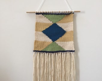 Diamond and stripes woven wall hanging