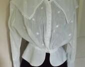 Edwardian Blouse - Fine Patterned White Cotton