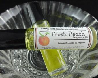 FRESH PEACH Perfume, Roll On Perfume Fragrance, Peach Perfume, Sweet Peach Scent, BPA Free Glass Bottle, Moisturizing Jojoba Oil
