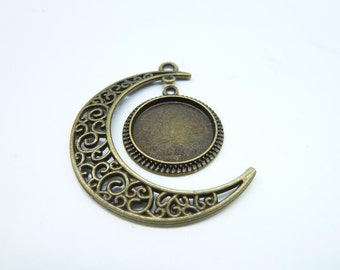 10 sets-Moon and Tray charms, Antique Bronze Crescent Moon ,Galaxy, Cosmic Universe jewelry 16mm Base Setting 7193 4586
