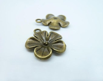 15pcs 20mm Antique Bronze Lovely  Flower Charm Pendant c2638