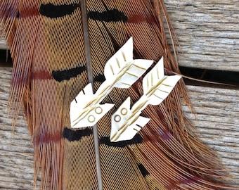 sterling silver arrow earrings , feather jewelry, tribal jewelry, sterling arrow. Native american jewelry