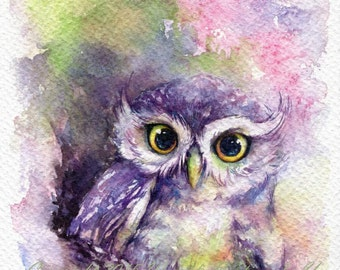 PRINT –Rainbow Owl Watercolor painting 7.5 x 11""