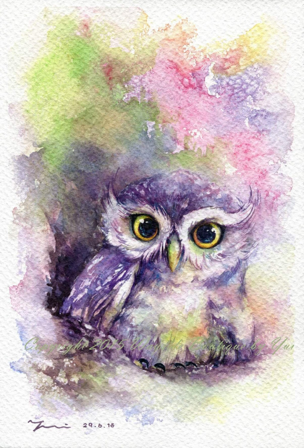 PRINT Rainbow Owl Watercolor painting 7.5 x 11