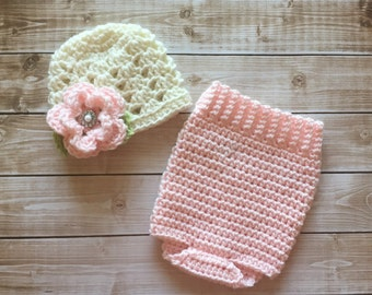 Ashlee Beanie and Matching Romper/Baby Romper in Ecru, Celery Green and Pale Pink in 3 Sizes- MADE TO ORDER