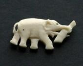 SALE Antique Carved Bone Elephant Brooch Pin Art Deco Jewelry 1930s