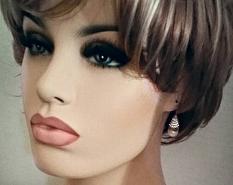 Vintage Pierced Ivory Pearl Earrings - Clear Swarovski Crystals set in a Gold Tone Cone - Swarovski Stamped Swan on cone - Bridal wearwann