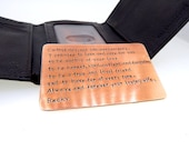 Bronze Wallet Insert Card - Antiqued Bronze Hand Stamped - 300 Character Max - 8th Anniversary Gift  - Great Anniversary Gift!!