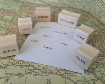 travel words - set of six wood mounted rubber stamps by Mary C. Nasser for RubberMoon - MN2
