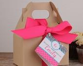 12 - Personalized Mini Gable Boxes - Pink Zebra Tag - Zebra Stripe Party Favors, Zebra Birthday, Zebra Stripe Favor Box