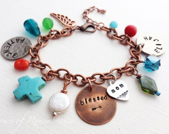 Mother's Personalized Mom Grandma Custom Coin Charm Bracelet