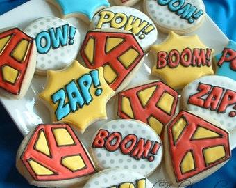Superhero cookies - personalized - 1 dozen Superhero cookies - Decorated cookies - birthday favors