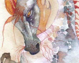APPLE DRAGON  aceo watercolor PRINT giclee myth mystical - Free Shipping