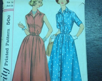 "Vintage Simplicity 2047 Shirt Dress Sewing Pattern 50s Full Skirt 34"" Bust"