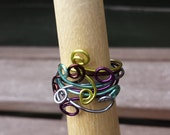 Handcrafted Wrapped & Stacked MultiColour Enamelled Copper  Wire Ring, Boho. Minimal Jewellery, Spiritual Jewellery, Wirework,Layered Rings