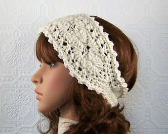 Crochet boho headband, headwrap - ivory color - women's accessories winter fashion - Sandy Coastal Designs - ready to ship - made in America
