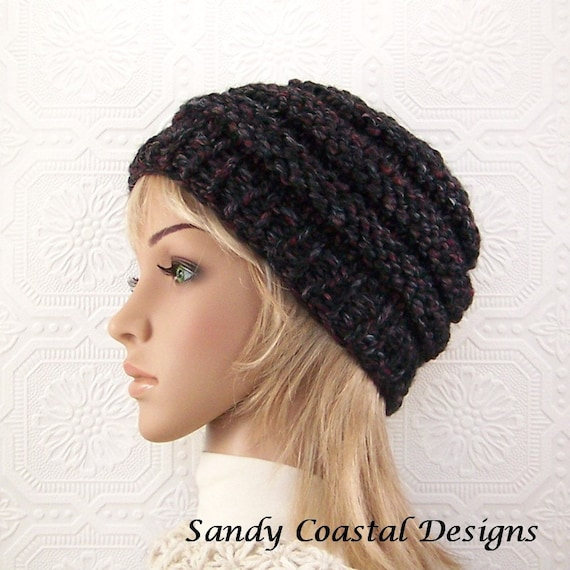Hand knit hat beanie - blackstone or your color choice - women's Winter Fashion Winter Accessories by Sandy Coastal Designs made in America