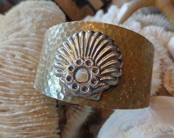 "SALE Art Deco ""Seaside Lightning Bolt"" Cuff, Vintage Seashell Supplies, Hand Patinaed, Catches Light, Elegant Bling For Summer Beach Lover"