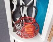 Vintage Miniature Wire Red  Basket 1960s