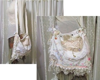 Embroidery Linen Bag. handmade cottage shabby and chic, vintage cotton linen, french market bag, crossover body strap