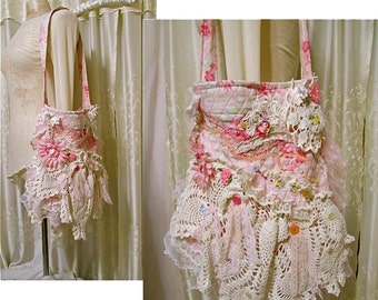 Shabby n chic bag, handmade OOAK with romantic layers of lace doily beads buttons embellished, thick quilted fabric, pink florals