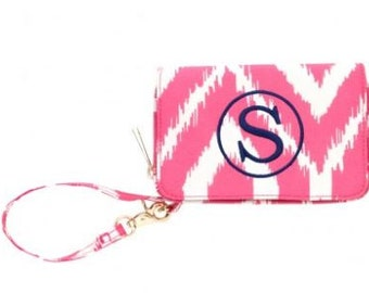 Monogrammed Pink Ikat Wristlet