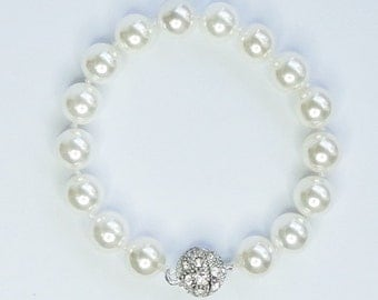 Bridal Bracelet Swarovski crysta pearls brides bridesmaids flower wedding Beach