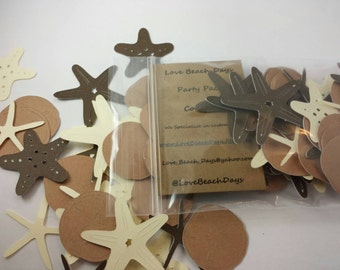 Beach Confetti: 100 Paper Card Stock Sand Dollar and Starfish Confetti Pack, Custom Confetti, Scrapbooking, Weddings, Table Decor