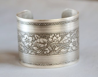 Flower Blossom Bracelet,Victorian Floral Cuff,Silver Bracelet,Cuff Bracelet,Silver,Bracelet,Wedding,Bride.Mother's Day Gift,Gift for her