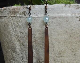 Faceted Prehnite & Antiqued Bronze Earrings