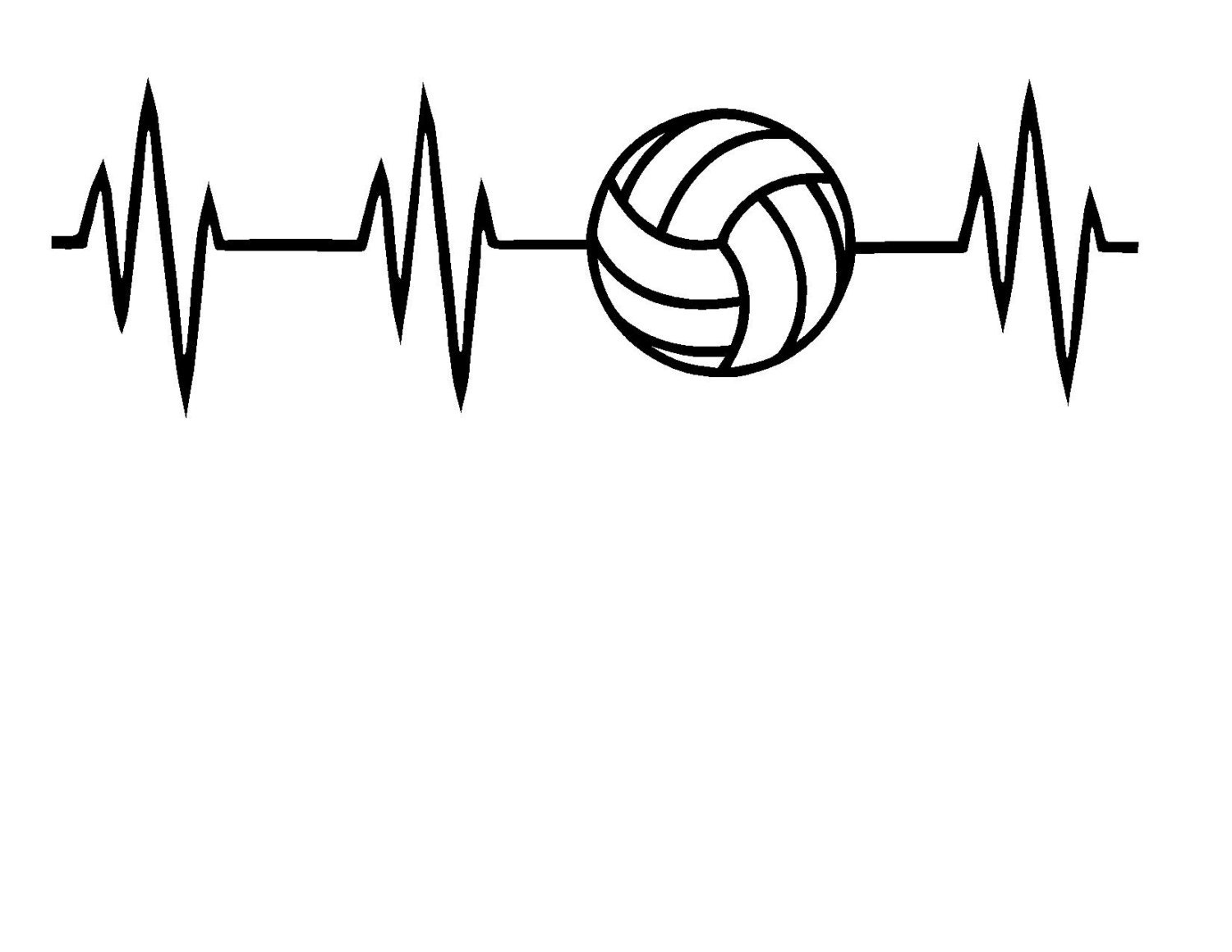 Volleyball Heartbeat Svg Or Silhouette Instant Download