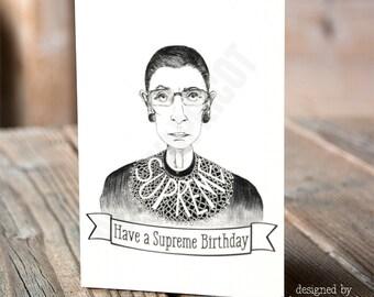 Ruth Bader Ginsburg - Supreme Birthday Card- Notorious RBG Birthday Card, Greeting Card