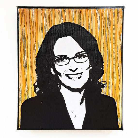 Tina Fey Lemon Painting - Liz Lemon - Stencil - Pop Art - Pop Culture - 30 Rock - Bitches Get Stuff Done - Tina Fey Portrait - Art for Nerds
