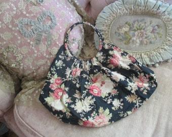 Vintage Baggy Hobo Purse Bag Or Yarn Sac Holder Frech Style Watered Pink Roses On Black V53