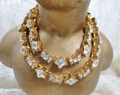 Vintage 1950 Monet Rhinestone necklace Gold Tone