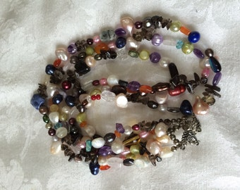 Mixed Bead Necklace - 3 strand pearls and Semiprecious gemstones - magnetic clasp