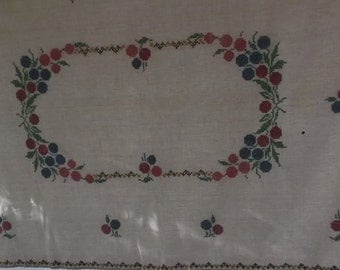 Vintage Tablecloth Heavy Beige Linen with Cross Stitch Embroidery
