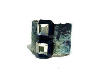 Crystal denim cuff