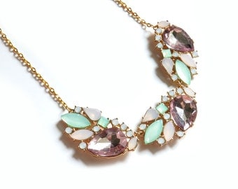 Pink and Mint Gold Statement Necklace