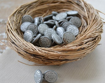 Vintage Silver Metal Rose Flower Buttons - Shank Style Lot 898