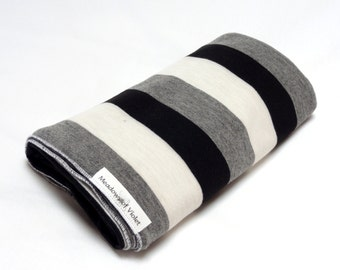 Large Cotton Jersey Knit Baby Swaddle/Receiving Blanket - Girl or Boy - Black/Gray/Ivory Stripe