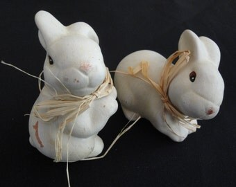 A Pair of Shy Vintage Terra Cotta Clay Bunnies Hand Painted for Home Decor Gift for Her Spring Farmhouse Farm Decor Box 11
