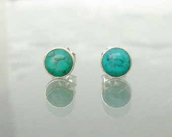 Turquoise Stud Earrings  - Natural Turquoise Sterling Silver Ear Studs The Clearity Foundation  - Ovarian Cancer Fundraising