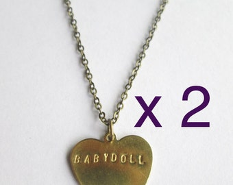 TWO 1.5 MM Stamped Brass Heart Necklaces