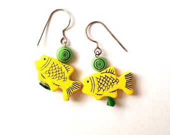 Yellow fish earrings- on ear wires sterling silver 925