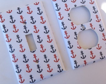 Navy Blue and Red Anchors Single Light Switch Plate Cover / Nautical Bedroom Decor / Nautical Nursery Decor / Nautical Room Decor/ Patriotic