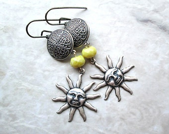 Sun Earrings, Long Silver Earrings, Jade, Silver Jewelry