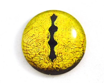 Large 30mm Yellow Lizard Snake or Dragon Glass Eye Cabochon Jewelry or Doll Making or Taxidermy Crafting